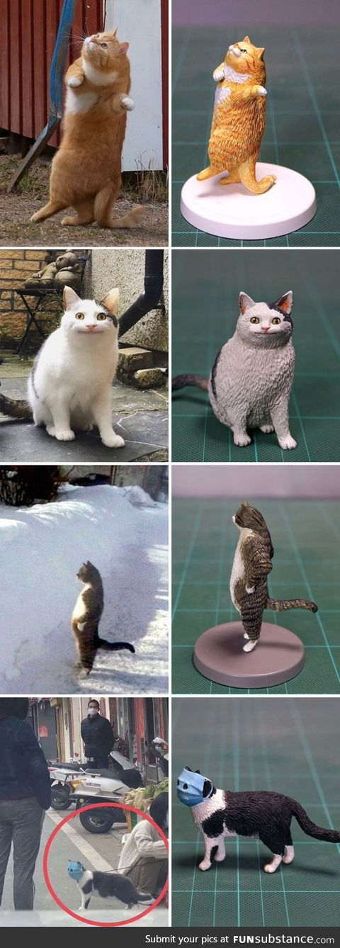 Artist Meetissai recreate funny cat photos as sculptures