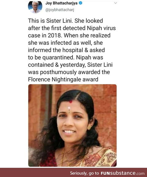 She looked after the 1st Nipah virus infected patient in India
