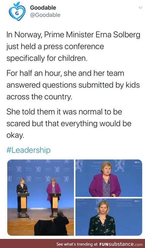 The Norwegian prime minister held a press conference for the children
