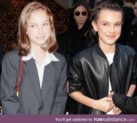 Natalie Portman and Millie Bobby Brown at the same age