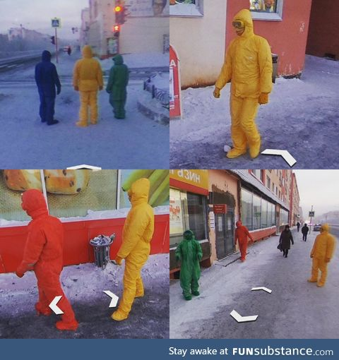 In Norilsk, Siberia,  people dressed in Google colored suits and followed the Google