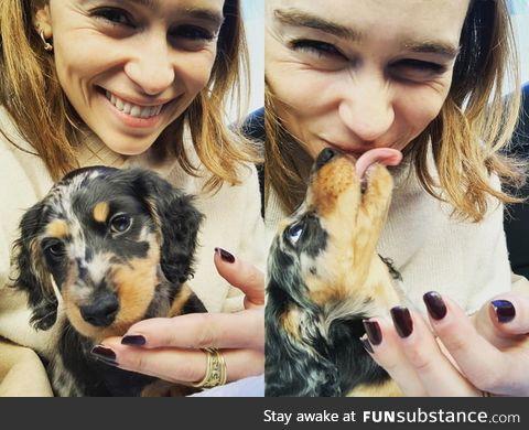 Emilia Clarke got a new puppy