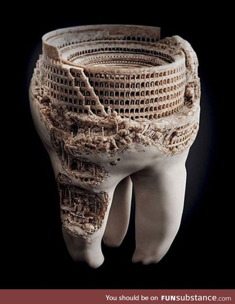 The Roman Colosseum, carved into a real tooth