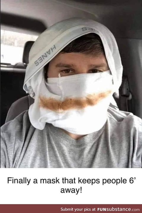 New mask that protects you and keeps people away!
