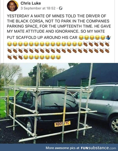 Don't park in a scaffolder's spot.