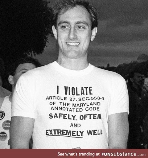 A man protesting Maryland's sodomy law, circa 1985