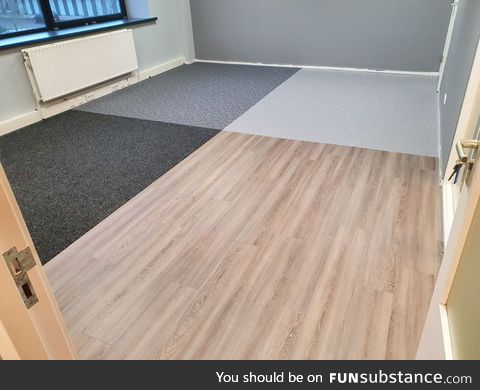 I work in flooring. A customer wanted 4 different floors in one room. Sure, why not? :)