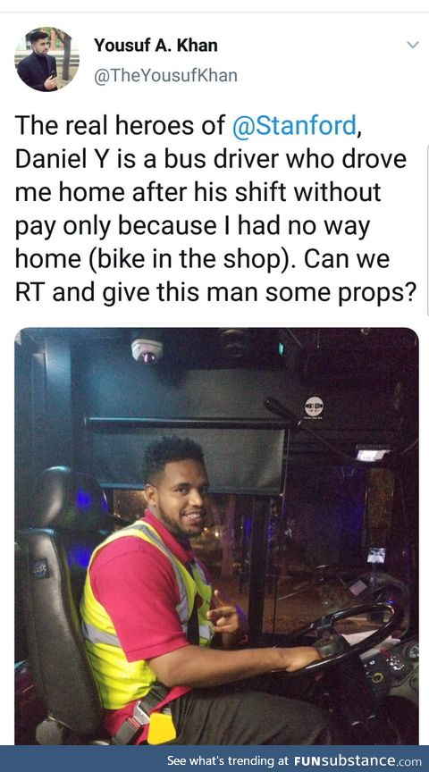 Wholesome bus driver drives student home for free late at night after shift