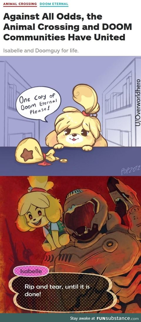 Isabelle as a playable character in the new DOOM