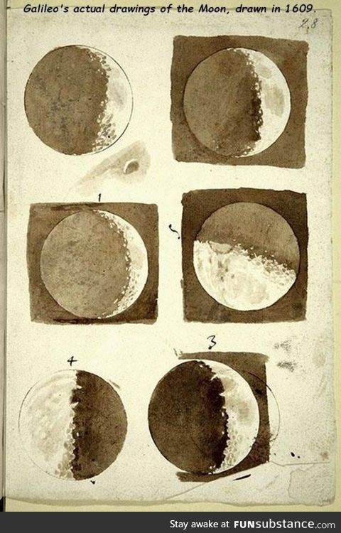 Galileo's drawings of the Moon, circle 1609