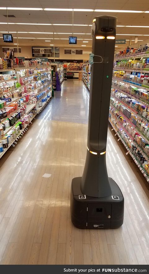 The grocery robot pleaded for 15 minutes for cleanup in Aisle 16 for a square of tissue