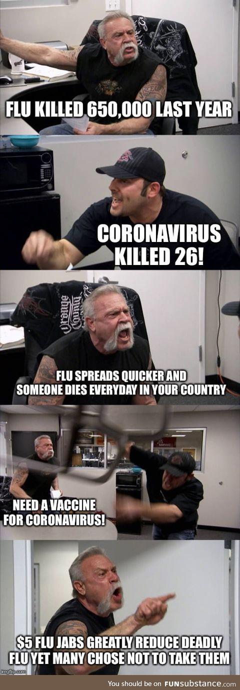 Once Coronavirus kills 100,000+, people will stop giving a damn and be like