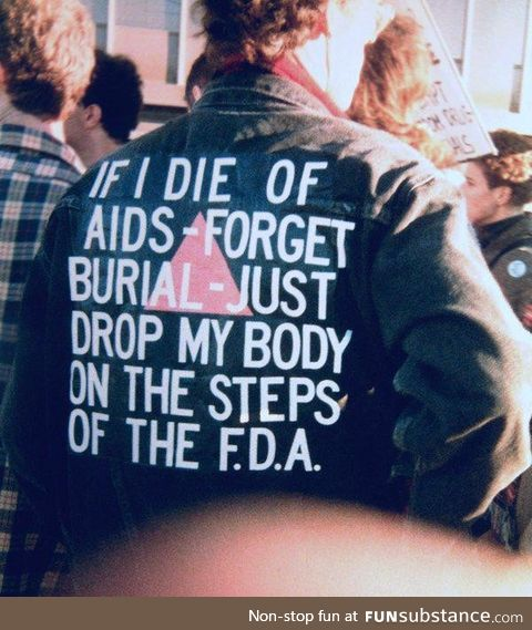 A protesters sign during the AIDS pandemic, circa 1985
