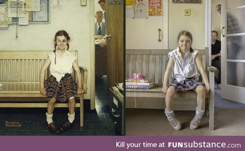 Norman Rockwell's Girl with a Black Eye recreated at home during lockdown - it's makeup,