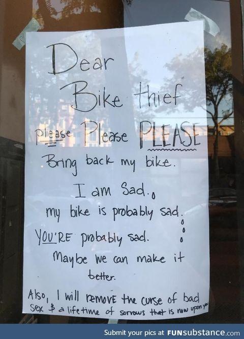 Dear bike thief