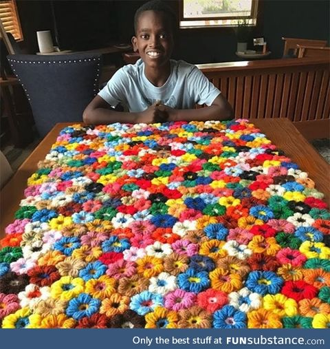 Kid taught himself to crochet and was able to master the craft
