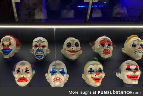 Authentic clown robbery masks from 'The Dark Knight.' On display at a DC Comics exhibit