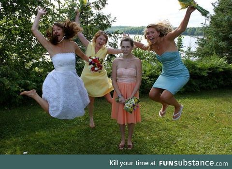 She said we weren't going to do a jumping photo!