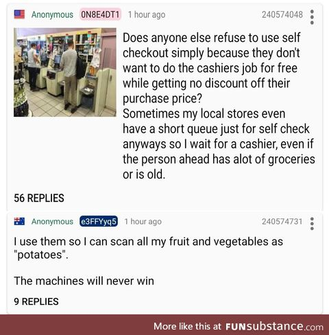 Anon on self-checkout