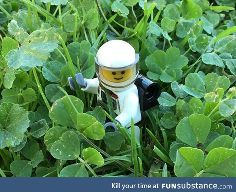 Here's a picture of a little Lego spaceman in some clovers