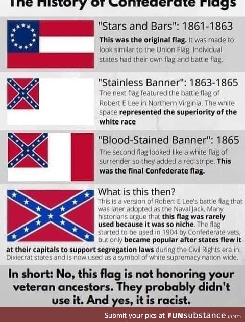 The history of confederate flags, to clear out wilful ignorance