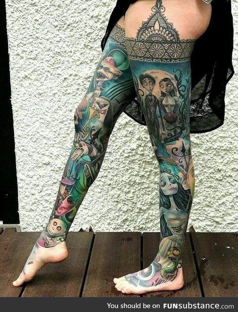 Tim Burton Inspired tattoo stockings