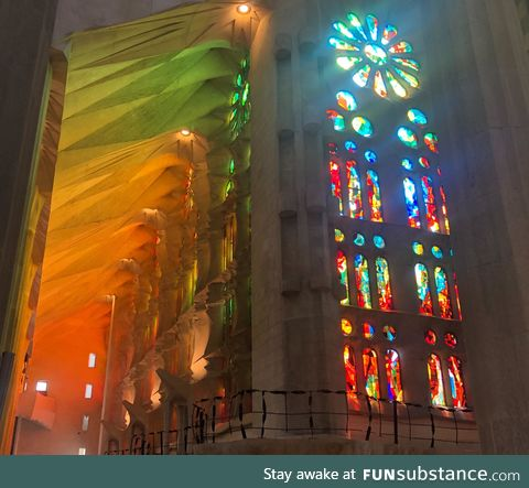 Sunlight through stain glassed windows, Sagrada Família in Barcelona