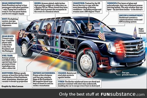 The Presidential State Car is a heavily modified $1.5M Cadillac One to transport our Dear