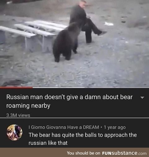 In Russia, you don't run from bear. Bear run from you