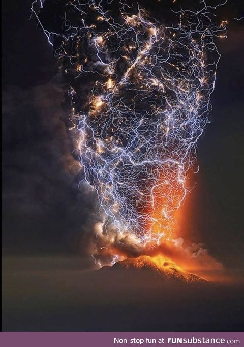 Mount Cabulco volcano in Chile erupting with flashes of lightning taken by time lapse