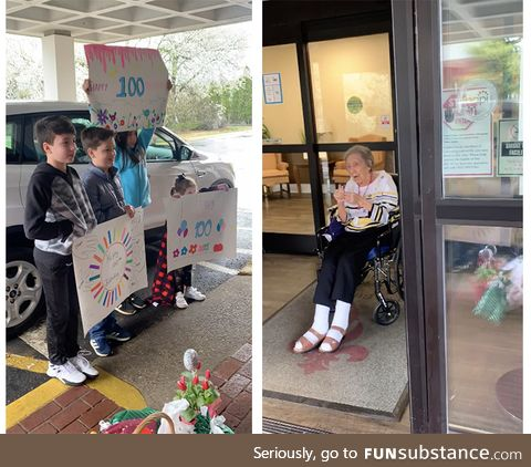 100 Years old today and the nursing home is on coronavirus lockdown so they sang to her