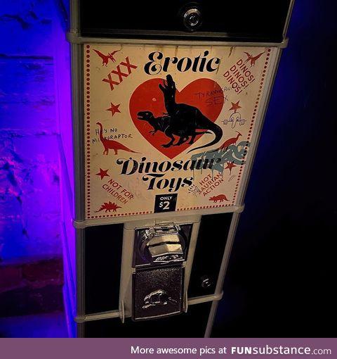 Dinosaur p*rn Vending Machine in Toronto Bar