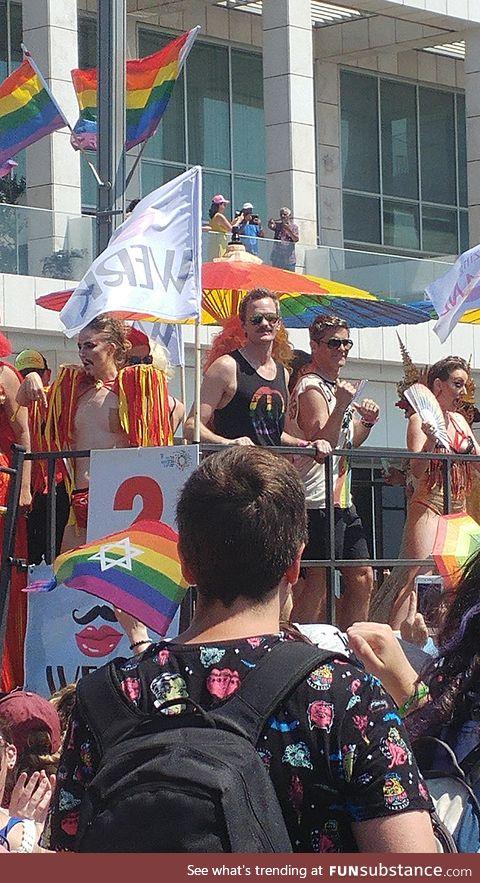 Neil Patrick Harris and his husband at the Tel-Aviv pride parade