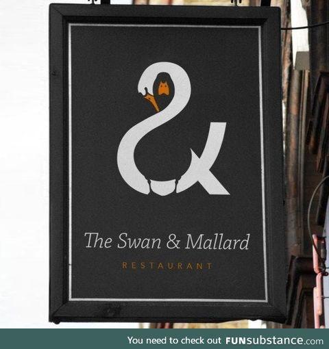 Swan and Mallard sign. Brilliant design