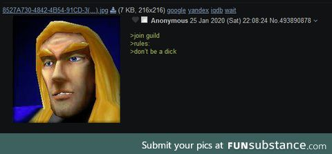 Anon reads the guild's rules