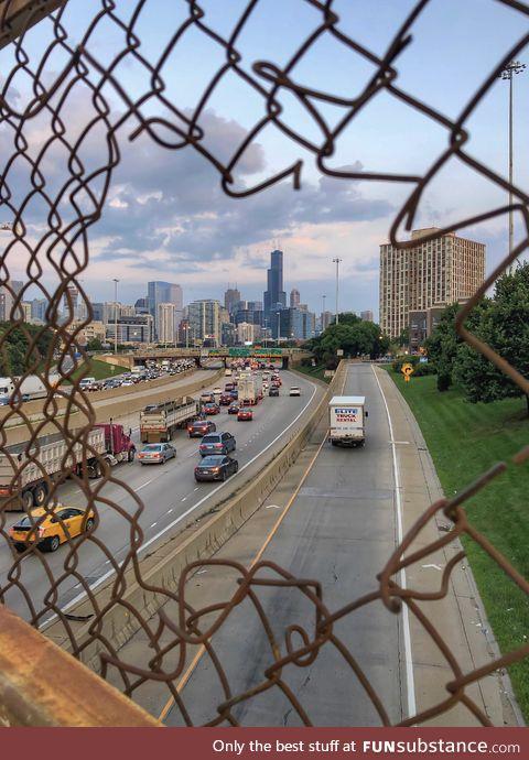 Chicago skyline through the fences