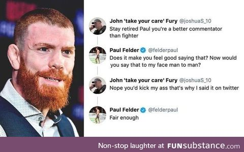 Interaction between Paul Felder and a Fight Fan