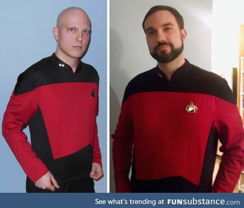 Man cosplays as Picard because of the chemo then next year as Riker after recovering