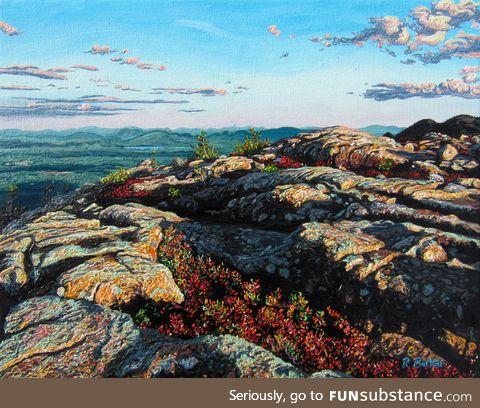 Trippy landscape oil painting