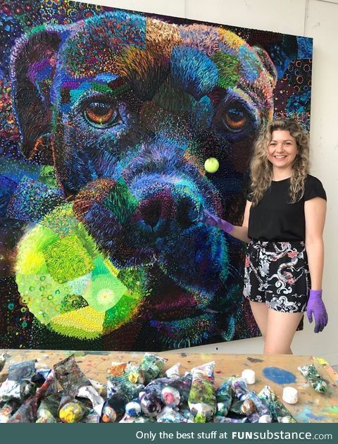 Iris Scott and her amazing finger painting
