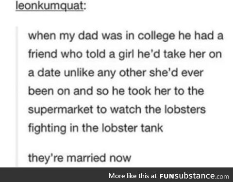 Lobster fights are an acceptable first date, allegedly