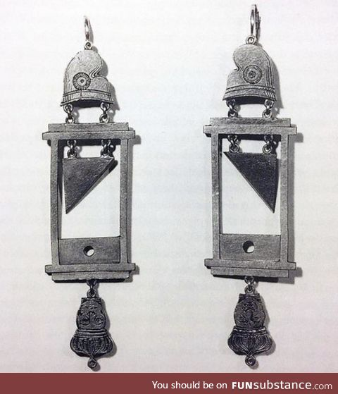 Guillotine earrings were very popular during The Reign of Terror in France, or so it's