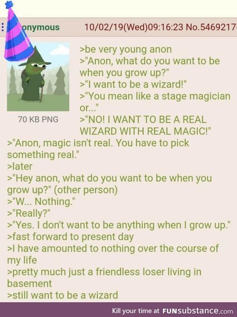 Anon wants to be a wizard