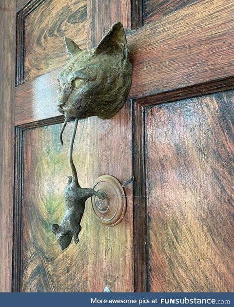 Cat lady door knocker