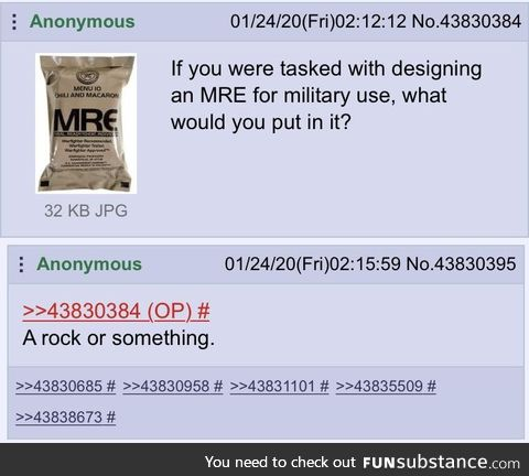 Anon creates the perfect MRE