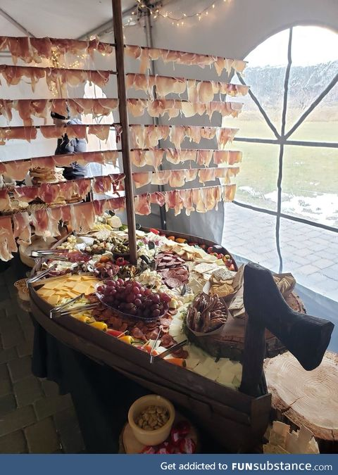 Charcuterie ship at a Viking wedding
