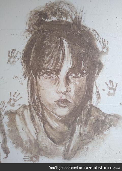 Done in mud under a railway bridge over a walking trail, unknown artist