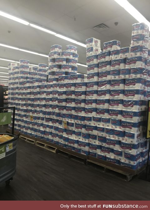 Someone was excited toilet paper was back... The stockers built a 12 foot castle