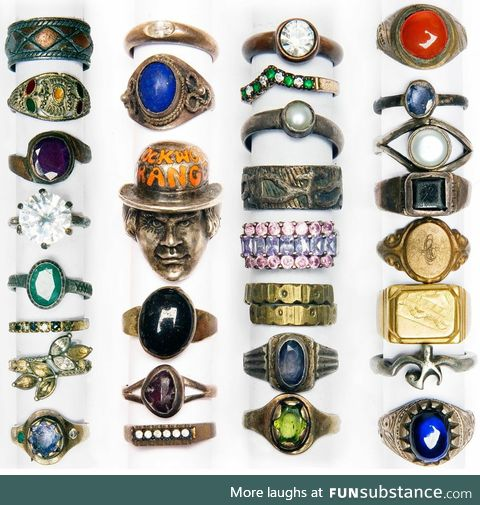 Photo of rings recovered over time from the banks of London's River Thames by the veteran