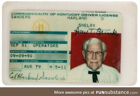 Colonel Sanders' drivers license circa 1979